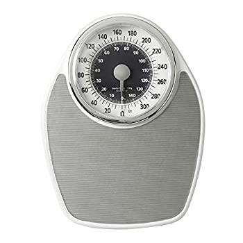 InstaTrack Large Dial Metal Analog Bathroom Scale with Silver Mat – Accurate Measurements up to 330 Pounds Battery Free