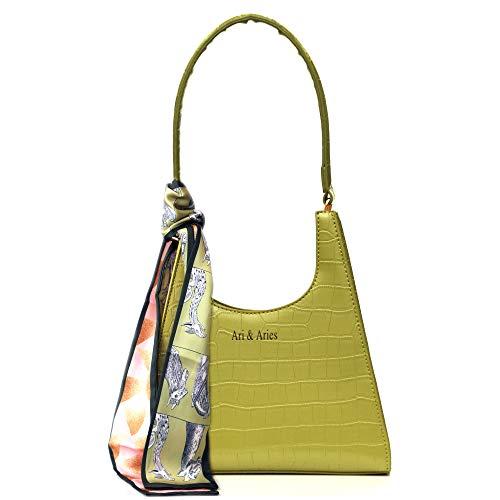 90s Shoulder Bag for Women Vegan Leather Crocodile with a short Handle and Silk Scarf, Full Luxury Gift Box Retro Classic Clutch Handbag mini purse by Ari & Aries Green Handbags Mint