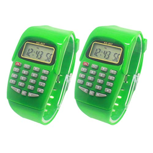 HEMOBLLO 2 Pcs Calculator Watch - LED Digital Children Watches Multi Purpose Kids Electronic Calculator Wrist Watch Gifts Watch for Kids Students
