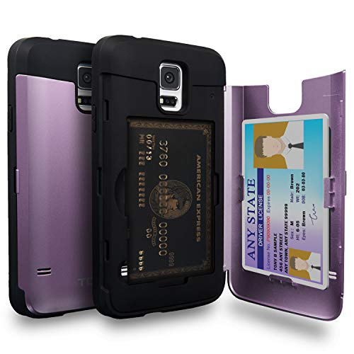 TORU CX Pro Funda Galaxy S5 Carcasa Cartera Morado con Tarjetero Oculto y Espejo para Samsung Galaxy S5 / S5 Neo - Lavanda