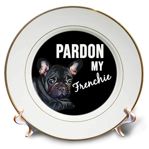 3dRose Stamp City - Typography - Pardon My Frenchie with Black Frenchie. White on Black Background. - 8 inch Porcelain Plate (cp_323416_1)