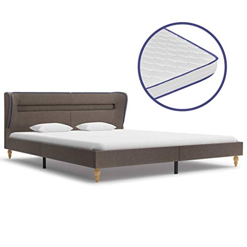 VidaXL LED Bed with Memory Foam Mattress, Slatted Bed Base, Adult Bed, Double Slatted Frame, Bedroom, Home, Taupe, Fabric, 180 x 200 cm