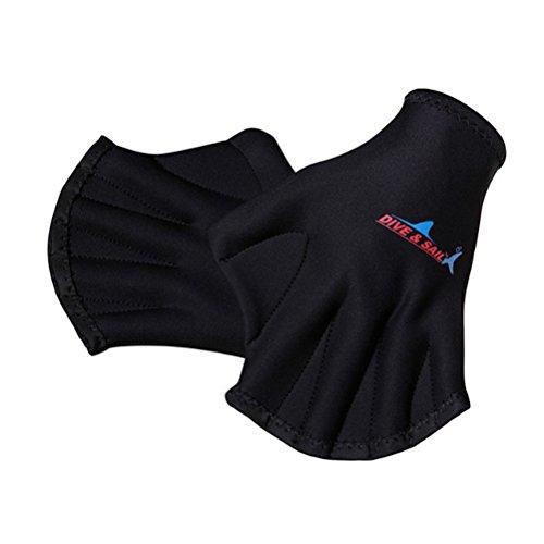 VORCOOL 1 Paar Schwimmhäute Schwimmhandschuhe Aquatic Traning Fit Paddel Wasserbeständigkeit Tauchen Hand Web (Schwarz)