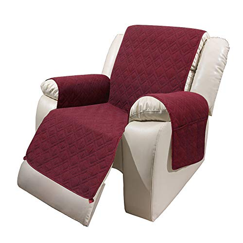 """Recliner Chair Cover with Pockets Waterproof - RBSC Home 30 Inch Anti Slip Large Soft Lazy Boy Chair Covers for Pets Dogs Cats Washable (30"""" Burgundy) -  GZ-30Recliner-Burgundy"""