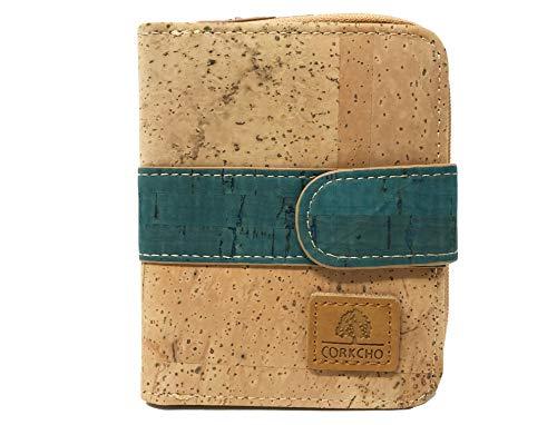 Portemonnaie aus Kork, biologisch abbaubar, Türkis, Damen, mehrere Fächer mit Reißverschluss, umweltfreundlich, vegan, weich