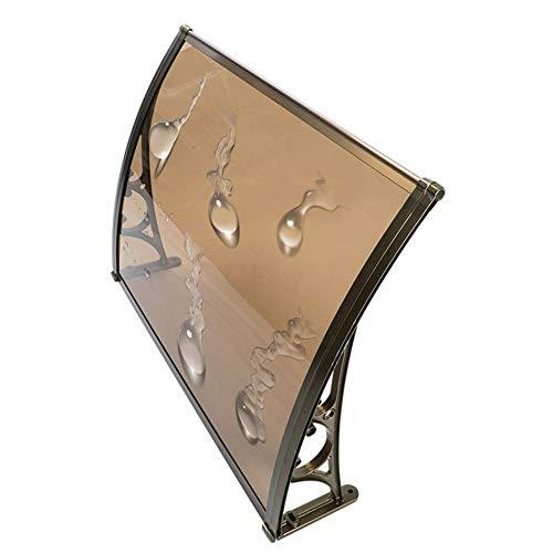 QIANDA Sun Shade Window Awning, Rain Resistant Snow Door Canopy Smash Resistant Brown PC Sheet Flame Retardant, For Patio Residential Overhead (Size : 120cm x 60cm)