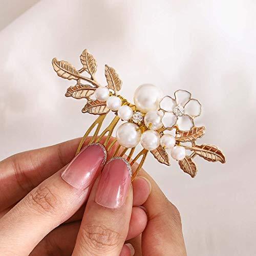 Fairvir Brautschmuck Hochzeit Haarkamm Gold Perle Seitenkamm Blumen Blätter Braut Haarschmuck für Frauen und Mädchen