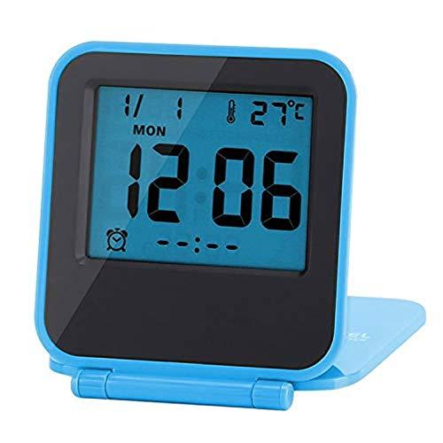 Yosoo Reloj de Alarma Plegable Portátil Ultra Delgado/Despertador Digital con Temperatura Calendario Fecha Semana(Blue)