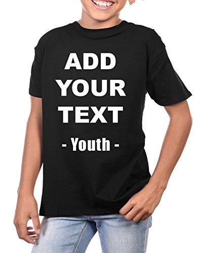 Custom T Shirts Ultra Soft Add Your Own Text Message Youth Cotton T Shirt [Youth Black S]