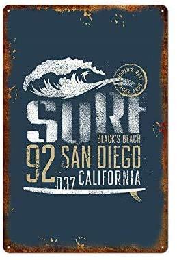 Surf San Diego Wanddekoration Retro Familie Restaurant Bar Höhle Outdoor Retro Blechschild Dekoration Blechschild 20,3 x 30,5 cm