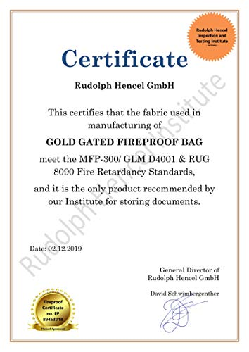 """Fireproof Document Bags Waterproof, Fire Safe Document Holder – 15""""x 11"""" Fireproof & Waterproof Safe Bag, Silicone Coated Pouch for Your A4 Documents, Files, Money & Jewelry, Gold Photo #2"""