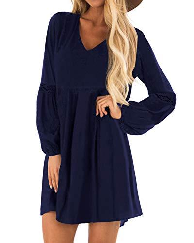 YOINS Sexy Kleid Damen Sommerkleid für Damen Babydoll Kleider Brautkleid Tshirt Kleid Rundhals Langarm Minikleid Langes Shirt Lose Tunika Strandkleid Baumwolle-dunkelblau S