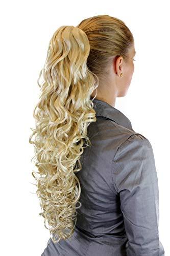 Postiche/tresse/queue de cheval, aux cheveux volumineux et abondants, bouclés, très longs, blond clait/platine 60 cm N310-613
