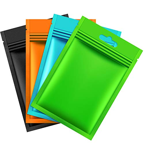 200 Pieces Mylar Zip Lock Bags Aluminum Foil Bags Flat Metallic Mylar Foil Flat Food Storage Bags Pouch Multicolor 8 x 13 cm
