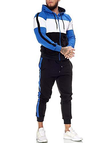 OneRedox | Herren Trainingsanzug | Jogginganzug | Sportanzug | Jogging Anzug | Hoodie-Sporthose | Jogging-Anzug | Trainings-Anzug | Jogging-Hose | Modell JG-1082 Blau-Weiss-Schwarz M