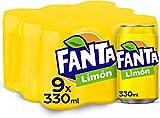 Fanta Limón - Refresco con 6% de zumo de limón, bajo en calorías - Pack 9 latas 330 ml