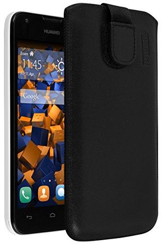 mumbi Echt-Leder Tasche kompatibel mit Huawei Ascend Y550, (Lasche mit Rückzugfunktion, Ausziehhilfe), schwarz