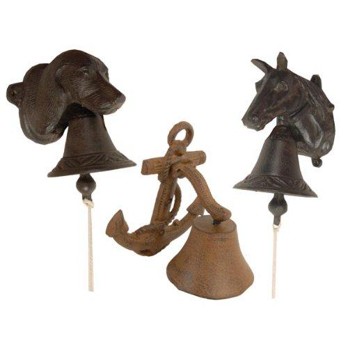 holzfuerkinder Türklingel Glocke Türglocke Gusseisen Hund, Pferd oder Anker Garten, Terassen, Tür DEKO