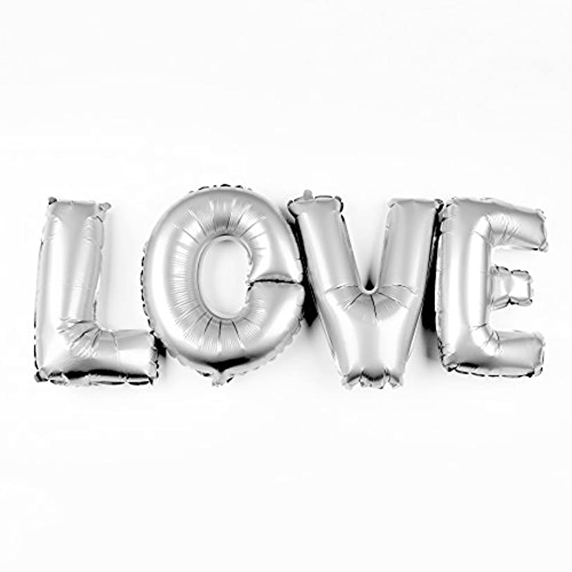 Ella Celebration Love Letters Balloons 40 Inch Large Letter Foil Wedding Party Decorations (Silver)