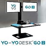 Yo-Yo DESK GO 2 (SCHWARZ) | Meistverkaufter Höhenverstellbarer Schreibtisch Mit Integrierter Säule Und Dual Monitorhalterung Für Benutzer über 180 cm | Integrierte Kabel- und Stiftbox - 7
