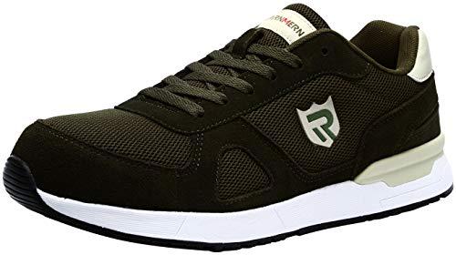 LARNMERN Zapatos de Seguridad Hombre Mujer, S1 SRC Punta de Acero Ligero Zapatillas de Seguridad Transpirable Reflectivo (45 EU, Verde)