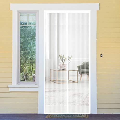 Magnet Vorhang, 75x225cm Ohne Bohren für Wohnzimmer Tür Kellertür Balkontür, Weiß A