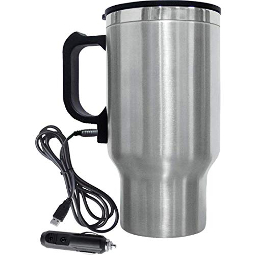 Xanadu Steel Travel Outdoor Electric Mug 12V Car Charging Electric Kettle Stainless Steel Travel Coffee Mug Cup Heated Thermos 450 Ml