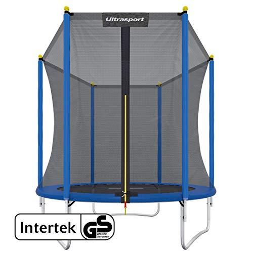 Ultrasport Kinder Gartentrampolin Uni-Jump inkl. Sicherheitsnetz, Blau, 183 cm, 331300000224