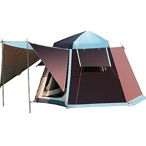 F&zbhzy Carpa Poste de Aluminio Hexagonal UV automático Camping Exterior Salvaje Gran Carpa 2-4persons toldo jardín pérgola 252 * 252 * 168 cm, café