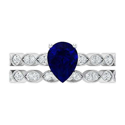 Anillo de compromiso solitario, D-VSSI 1.7 CT 6x8 mm forma pera anillo zafiro azul, conjunto de anillos de boda, anillo de declaración nupcial, 14K Oro blanco, zafiro azul-1, Size:EU 67