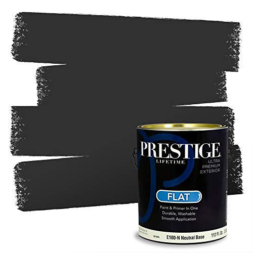 PRESTIGE Paints E100-N-SW6991 Exterior Paint and Primer in One, 1-Gallon, Flat, Comparable Match of Sherwin Williams Black Magic, 1 Gallon, SW239-Black