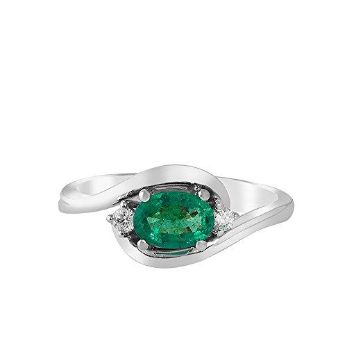 Maga Diamonds International - Anello Raffinato Da Donna In Oro 18 Kt - Tit. 750/1000 Con Diamanti Taglio Brillante Ct 0.09 E Smeraldo Verde (Berillo Naturale) Ct. 0.58