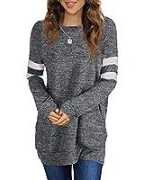 Sousuoty Tunic Sweaters for Women Long Sweatshirts Winter M Deep Gray