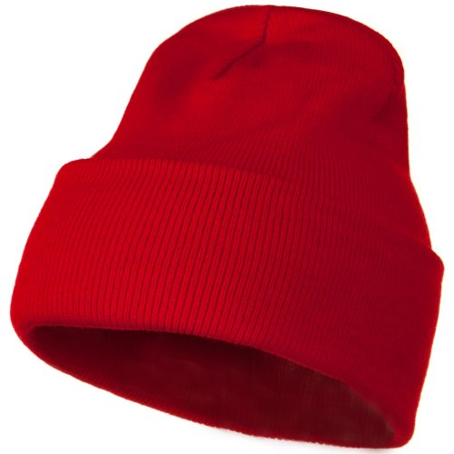 12 Inch Long Knitted Beanie - Red OSFM