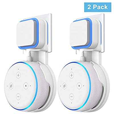 Wigoo Wall Mount Holder Hanger on Wall Plug for Dot 3rd Generation, Built-in Cable Management without Screws, Compact Safety Case in Kitchens, Bathroom and Bedroom White (2 Pack)… from Cozycase