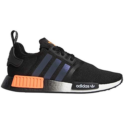 adidas Herren NMD R1 Low Top Sneaker – Black Solar, Schwarz (Schwarz/Solar Orange/Weiß), 45.5 EU