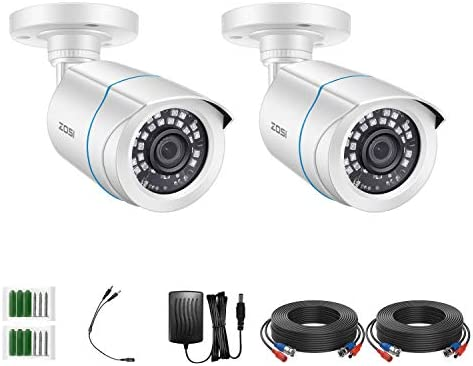ZOSI 2 Pack 2MP 1080p HD TVI Home Security Video Camera Outdoor Indoor 1920TVL 24PCS LEDs 80ft product image