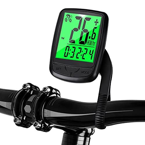 EIVOTOR Cuentakilómetros Inalámbrico Bicicleta,Ciclismo Ordenador Multifunción, Velocímetro Ciclismo Rastreador Impermeable con Pantalla LED de Retroiluminación para Ciclismo Speed Track Distancia