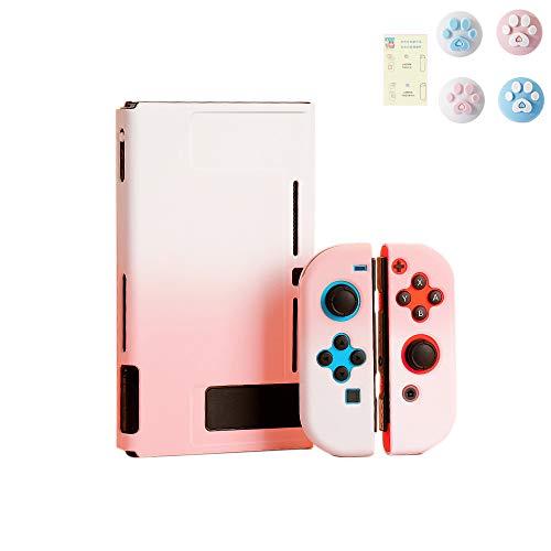 スイッチ ケース 分体式 Nintendo Switch カバー 薄型 Joy-Con用 親指キャップ ニンテンドースイッチ カバー 指紋防止 全面保護 ニンテンド ケース (セット, ピンクーホワイト)