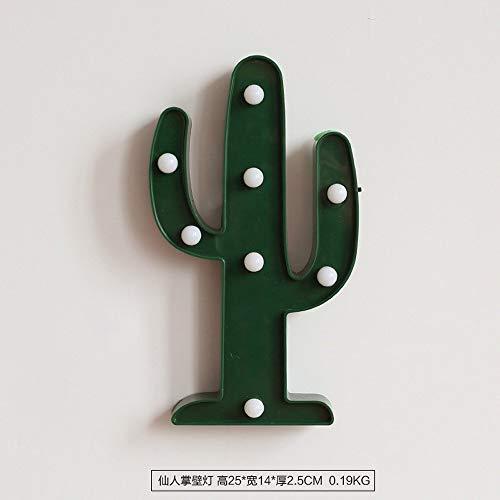 Eeayyygch Applique da Parete Minimalista E26 / 27 Griglia in Ferro con Base in Metallo Photo Wall Camera da Letto Decor, Lampada da Parete in Cactus