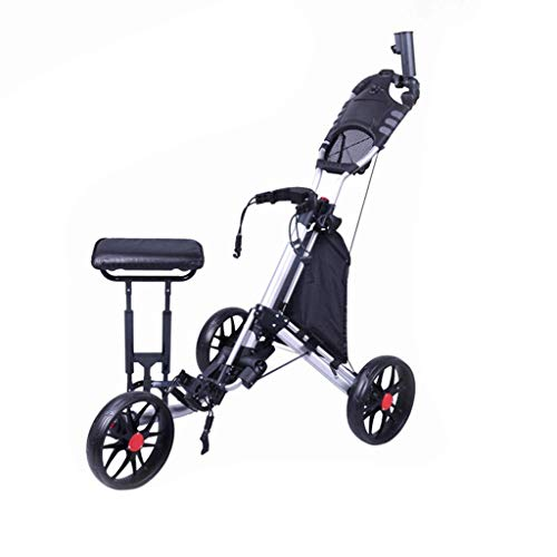 DDL Golf Push Cart Swivel Faltbare 3-Rad-Push-Pull-Wagen Golf-Trolley mit Sitz Anzeiger Bag Golf Push Cart