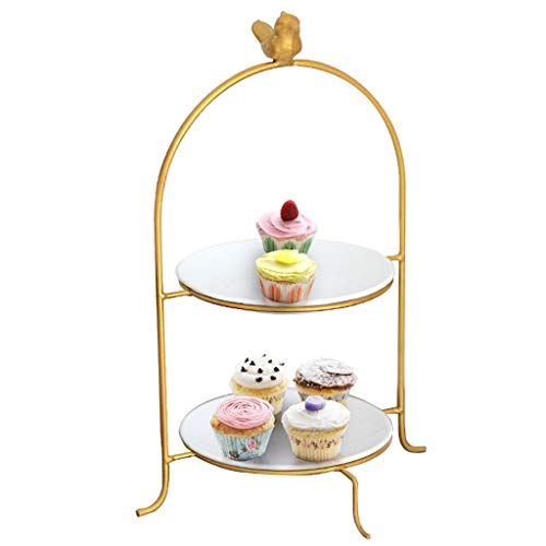 Homeries 2 Tier Serving Platter, Dessert Display Tower Stand Ceramic Tiered Cake Tray Cupcake Stands Fruit Plate Makeup Storage Rack Cake Plate