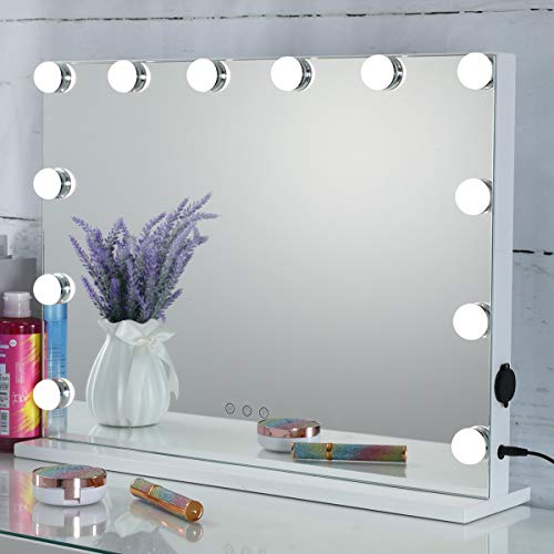 "Hollywood Lighted Vanity Mirror with Dimmable Bulbs, USB Charging port, 3 Light Modes, Frameless Tabletop Makeup Mirror with Smart Touch Control, W23""xH18"", White"