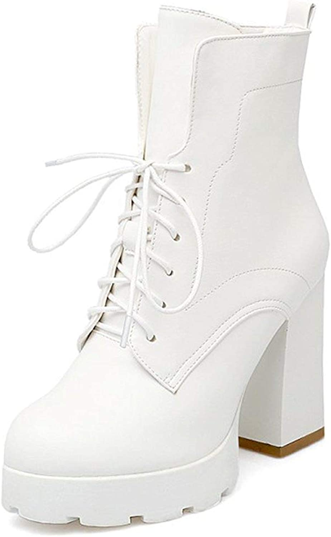 Gedigits Women's Casual Lace Up Round Toe Block High Heel Platform Short Boots White 4 M US
