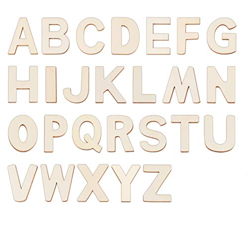 3' Wooden Letters - 78 Pcs Wood Letters for Crafts Unfinished Wood Letters for Letter Board/Wall Decor/DIY/Painted/Educational