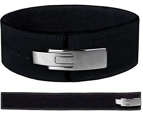 Just Fitee Weightlifting Belts for Men,Lever Weight Lifting Belt for Women,deadlifting Belt,Powerlifting Belt Leather with Stainless Steel Lever Buckles S-5XL (Black, 5XL)