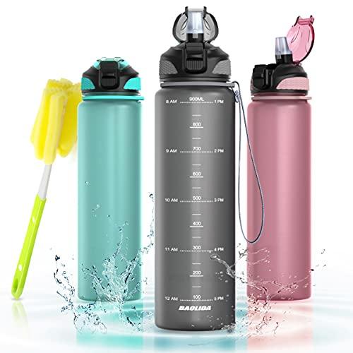 BAOLIDA Trinkflasche Sport, 1L Tritan Wasserflasche mit Zeitmarkierungs, BPA-Frei Sportflasche für Gym, Schule, Outdoor, Fahrrad, Yoga, Water Bottle für Kinder Erwachsene