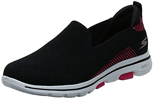 Skechers Women's GO Walk 5-PRIZED Sneaker, Black/Pink, 8.5 M US
