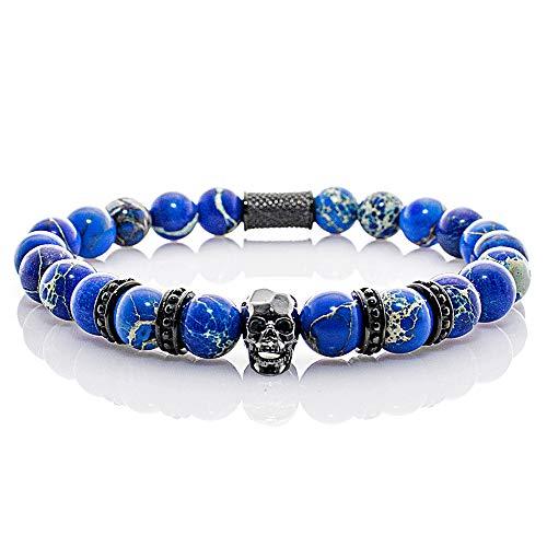 Angelo Silenzio Perlenarmband Blue Imperial Jaspis Perlen Black Skull 4 Crown (20)