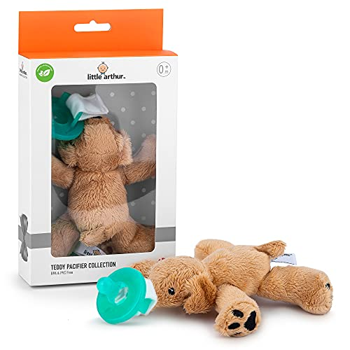Little Arthur™ Chupete con Peluche de Perrito | Silicona Médica | Ideal regalos para bebes | de 0 a 6 Meses | Chupete desmontable